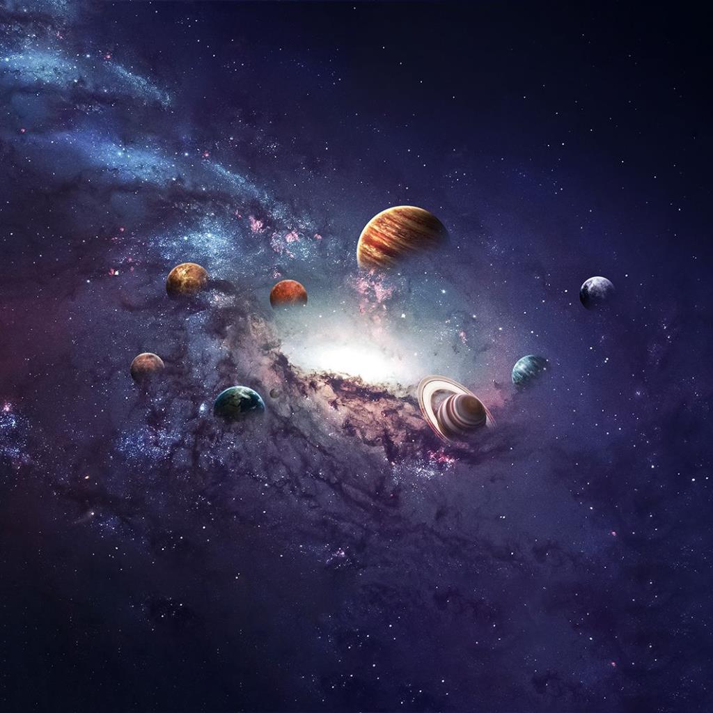 baskılı fon perde gezegen uzay boşluğu desenli