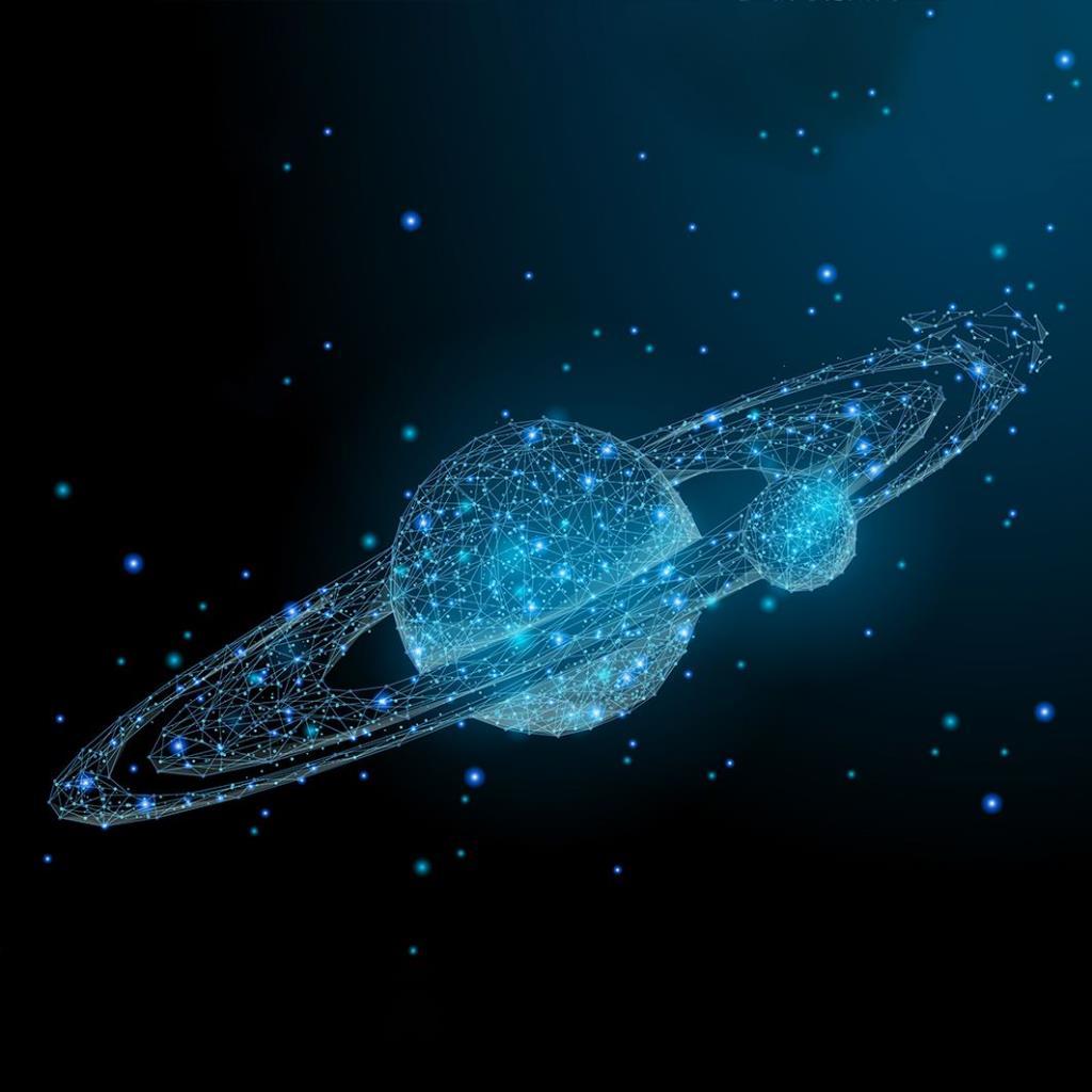 baskılı fon perde gezegen yıldız evren desenli mavi