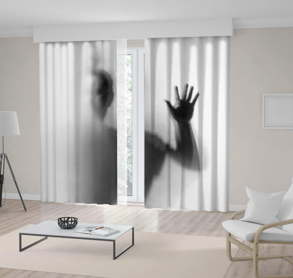 baskılı fon perde gizemli adam gölge desenli gri siyah