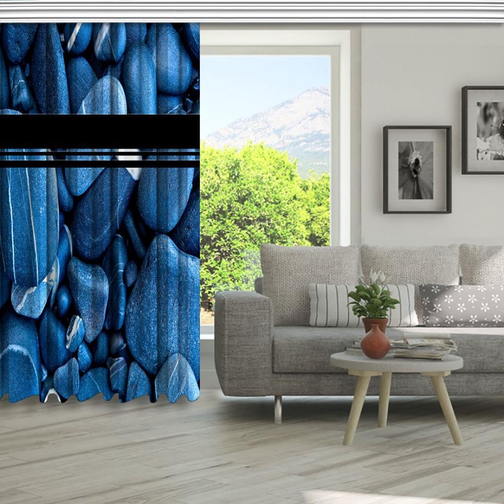 baskılı fon perde gök mavisi renginde doğal taşlı desenli