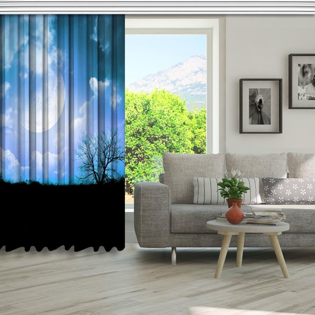 baskılı fon perde gökyüzü bulut ağaç desenli mavi siyah