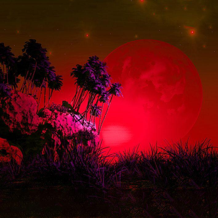 baskılı fon perde gökyüzü doğa ay desenli kırmızı