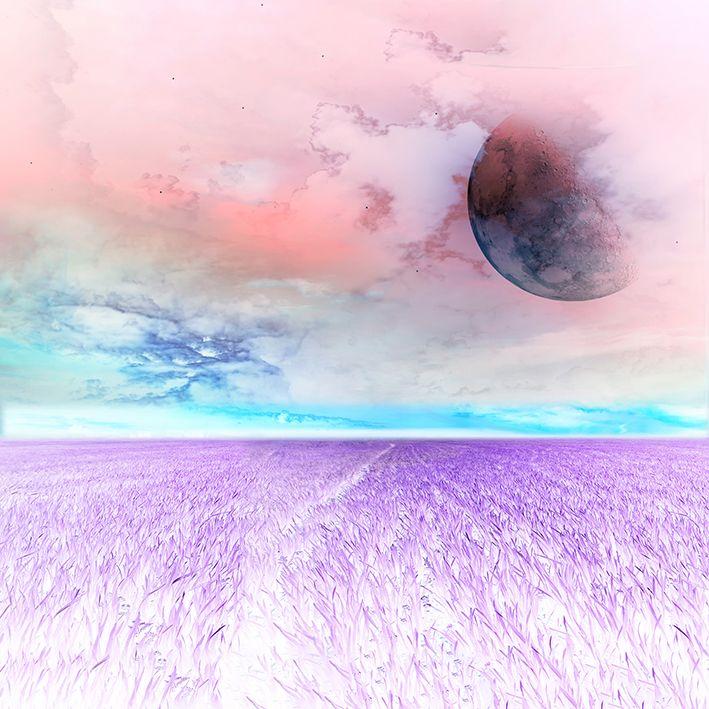baskılı fon perde gökyüzü doğa ay manzara desenli mavi mor