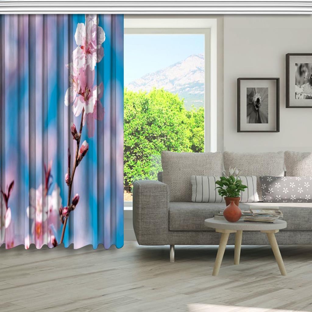 baskılı fon perde gökyüzü etkili pembe çiçek desenli