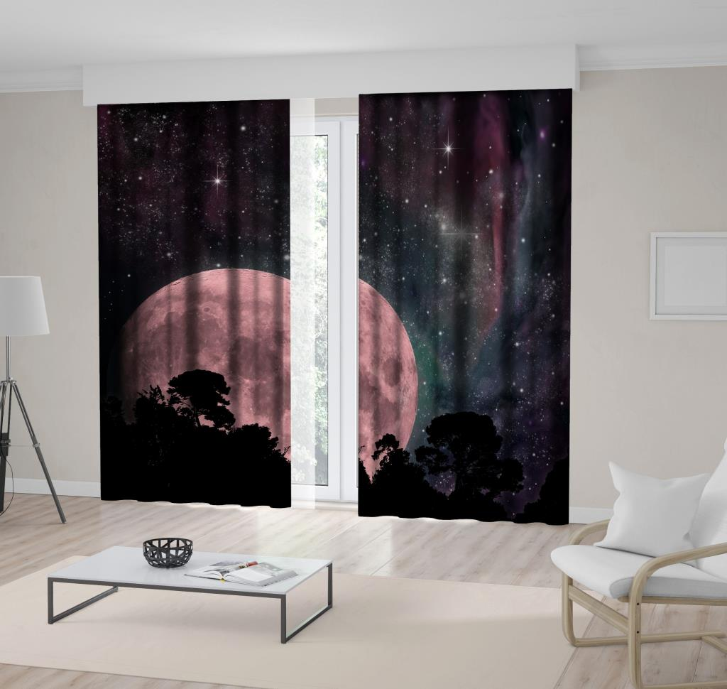 baskılı fon perde gökyüzü yıldız ay doğa manzara desenli