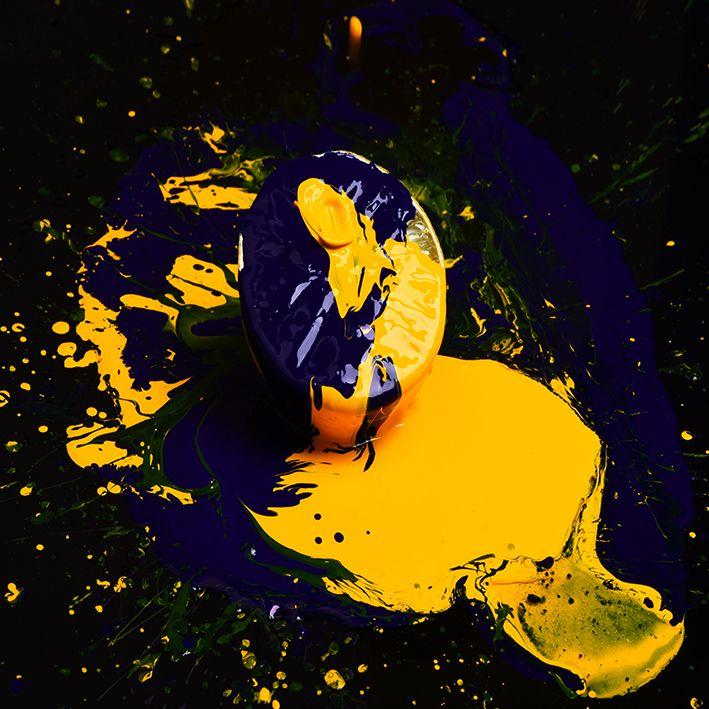 baskılı fon perde greyfurt yarısı boya kaplı desenli mavi sarı