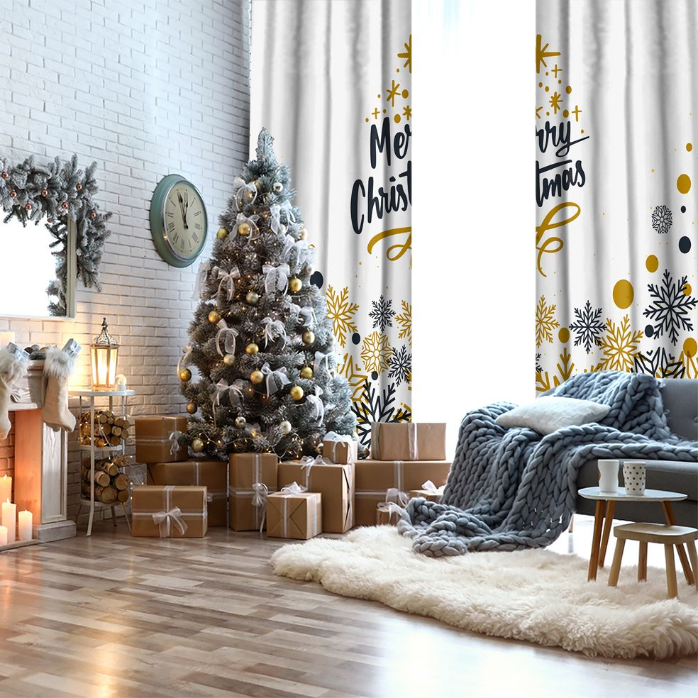 baskılı fon perde gri altın renkli kar taneleri puantiyeli mutlu yıllar