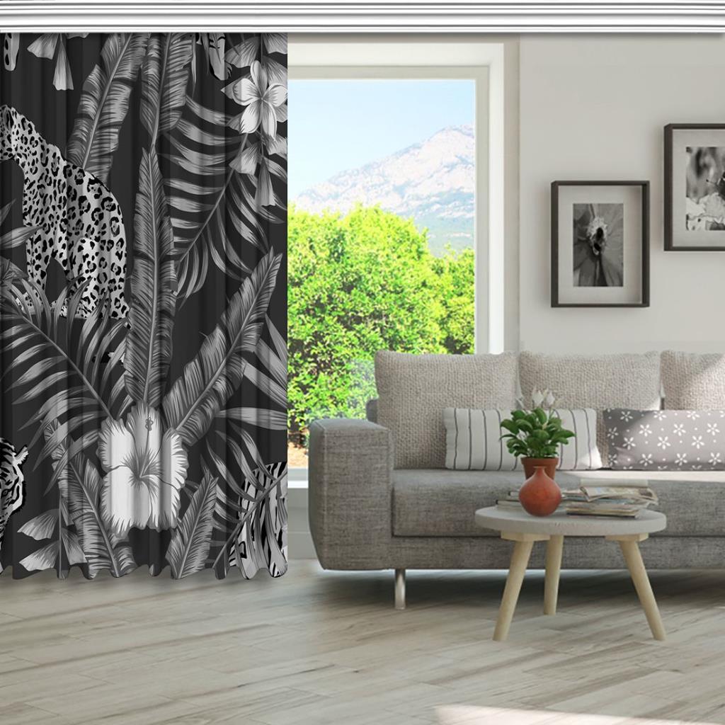 baskılı fon perde gri arka plan etkili palmiye yaprak desenli