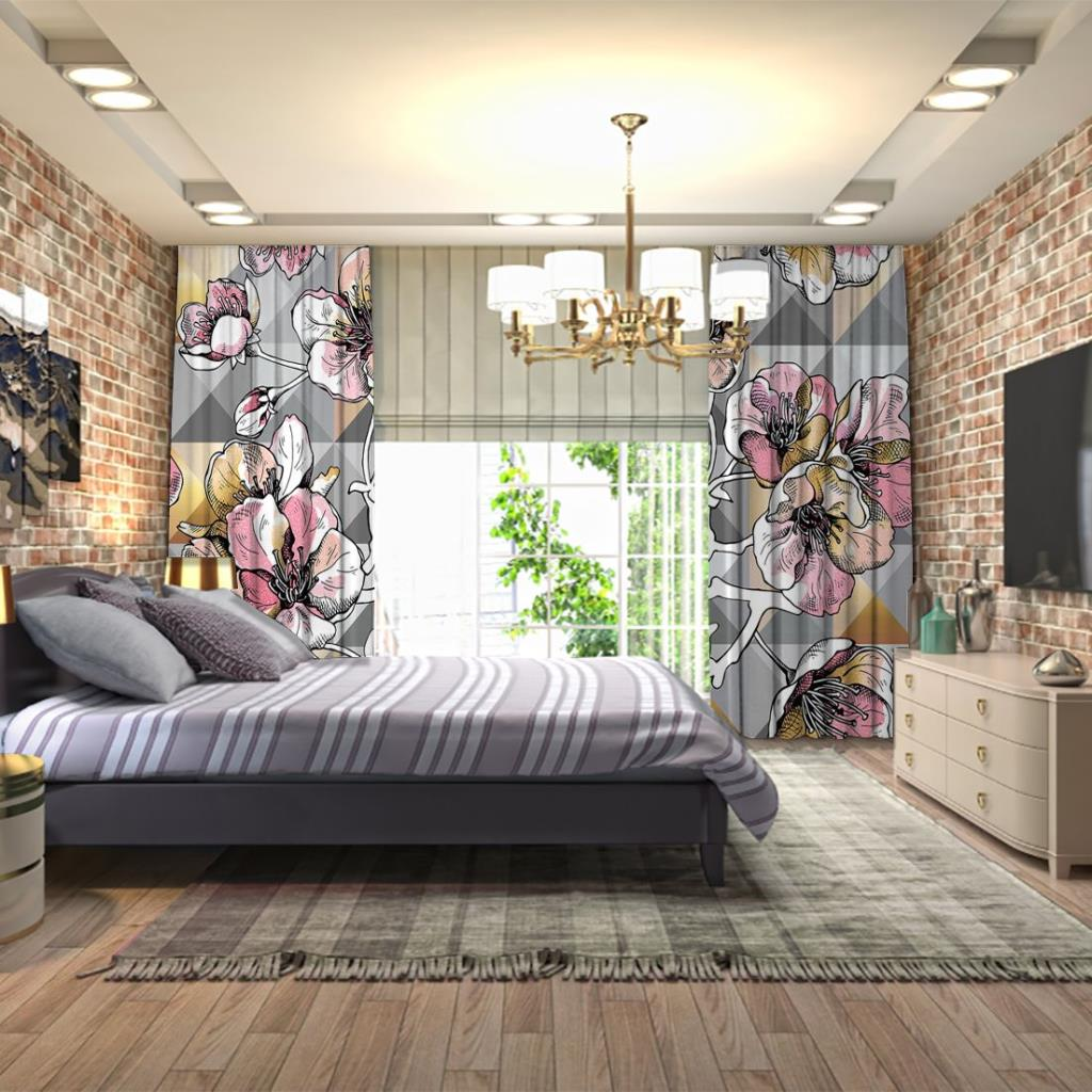 baskılı fon perde gri arka plan pembe çiçek desenli