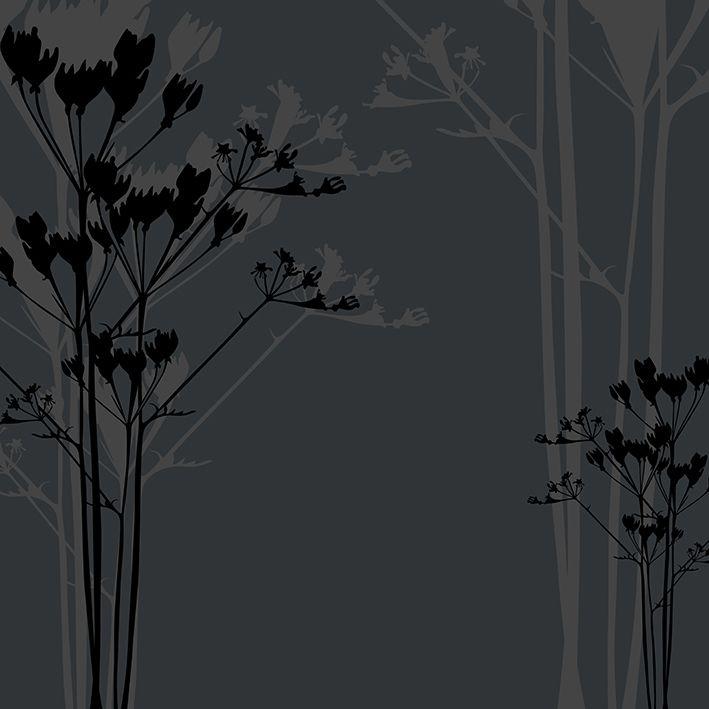 baskılı fon perde gri arka planlı siyah açğaç dal desenli