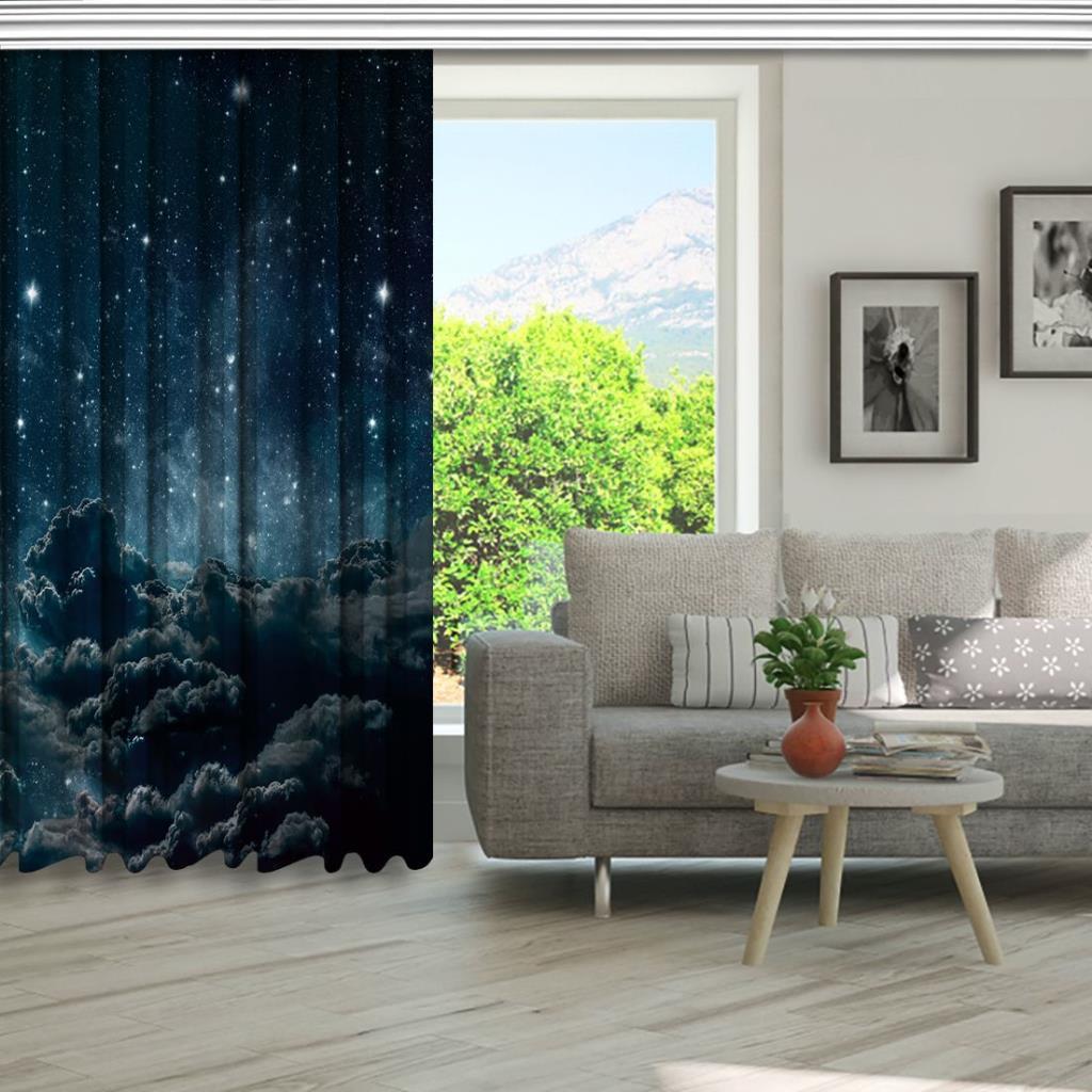 baskılı fon perde gri bulut gece gökyüzü desenli