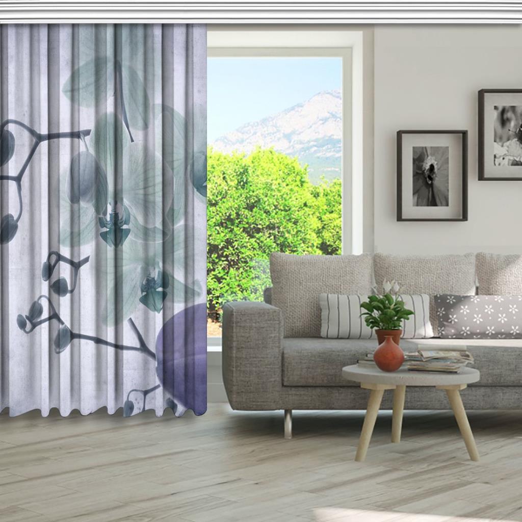 baskılı fon perde gri dumanlı yumuşak odaklı dal orkide desenli
