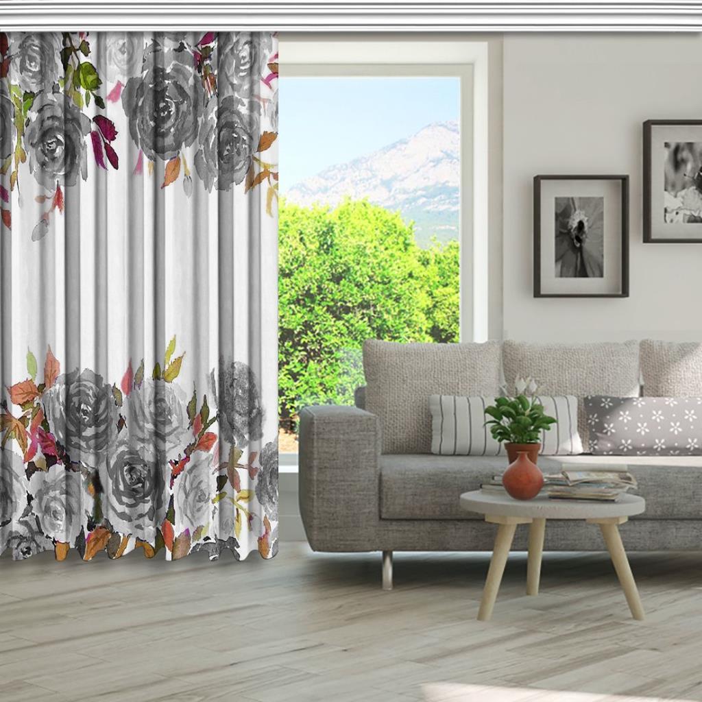 baskılı fon perde gri gül etkili renkli yaprak desenli