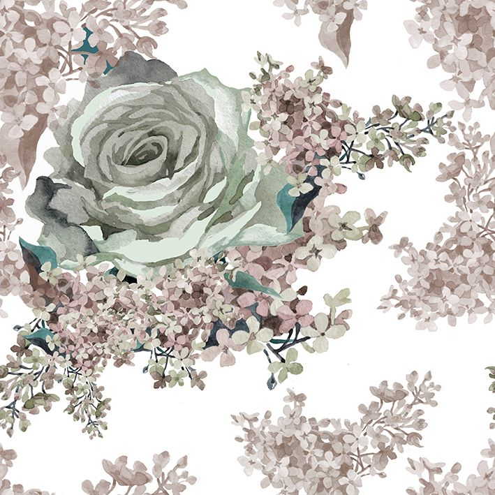 baskılı fon perde gri gül pembe leylak çiçek desenli