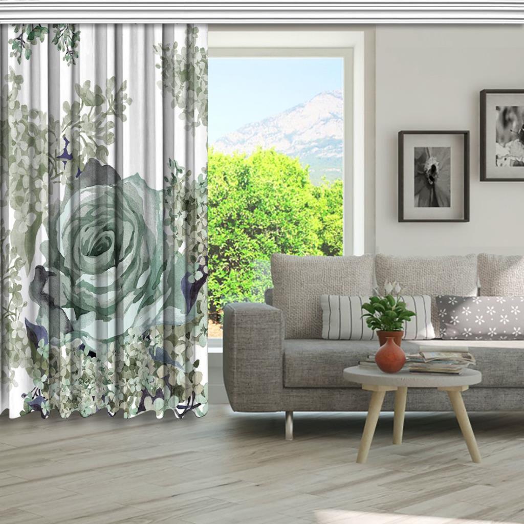 baskılı fon perde gri gül yeşil leylak çiçek desenli