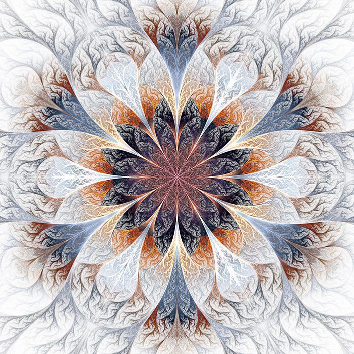 baskılı fon perde gri kahverengi ve mavi fraktal çiçek desenli