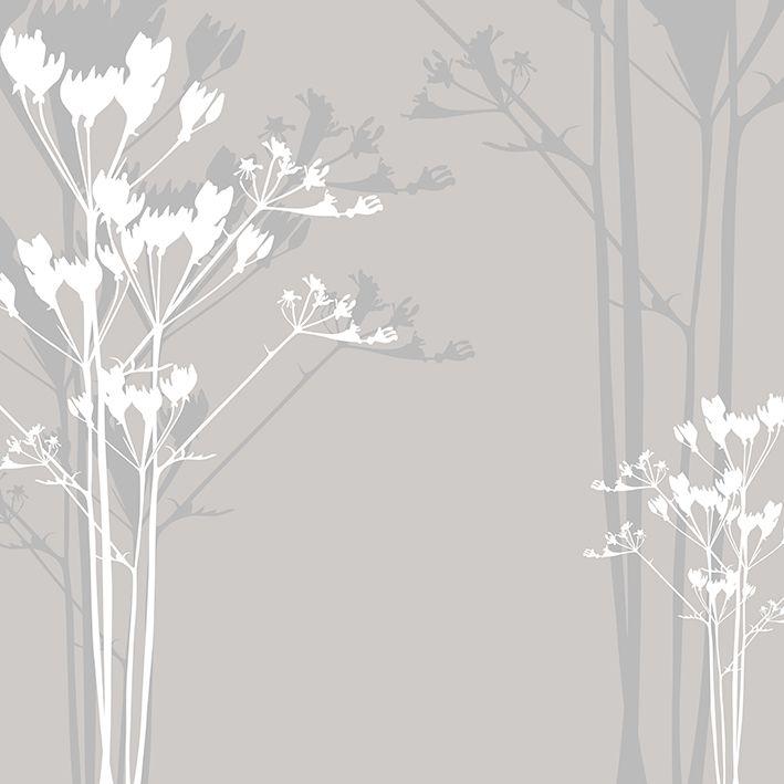 baskılı fon perde gri tonlarda beyaz çiçek desenli