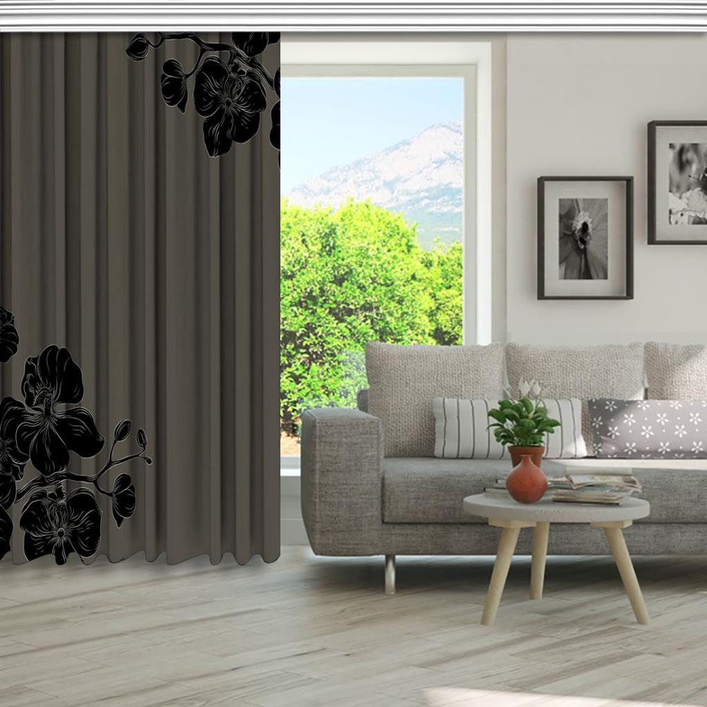baskılı fon perde grili siyahlardan büyüyen çiçekler desenli