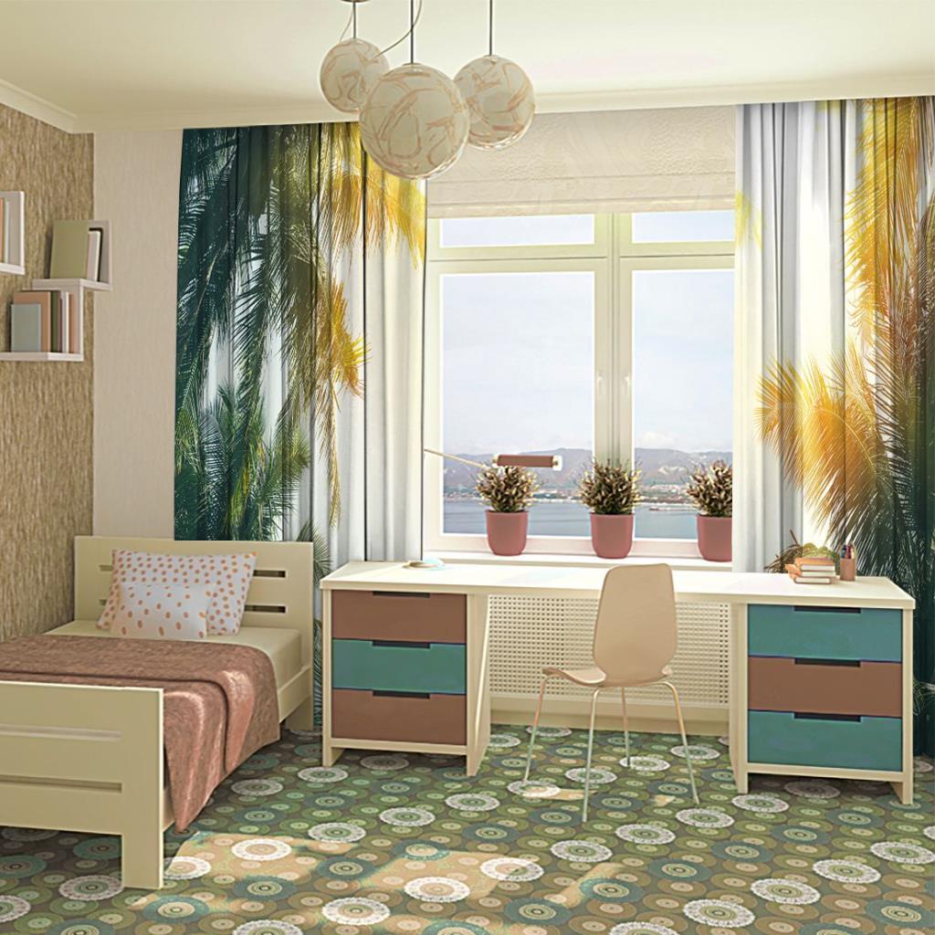 baskılı fon perde gün batımı etkili palmiye yaprak desenli