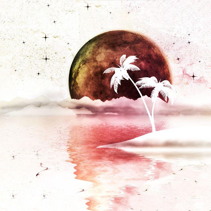 baskılı fon perde gün batımı tropikal ağaç okyanus desenli