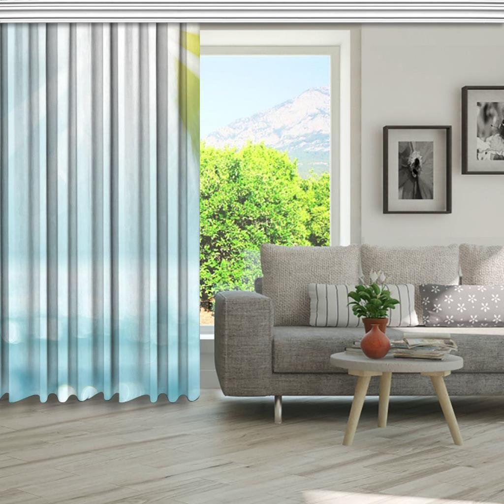 baskılı fon perde güneş deniz palmiye desenli mavi