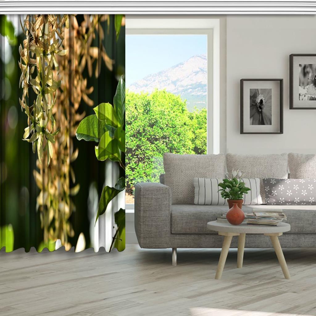 baskılı fon perde güneş ışığı etkili küçük yeşil yaprak desenli