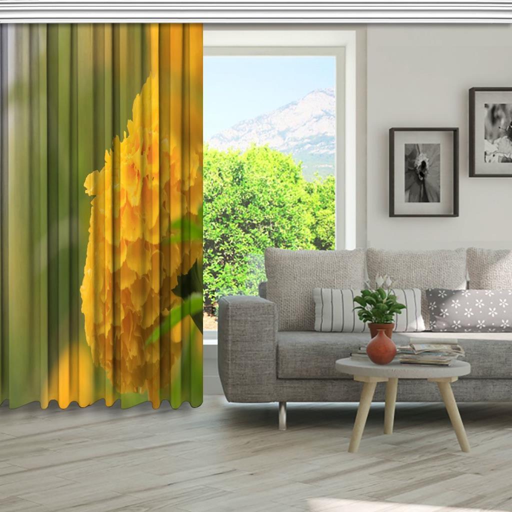 baskılı fon perde güneş ışığı manzaralı sarı renkte çiçek desenli