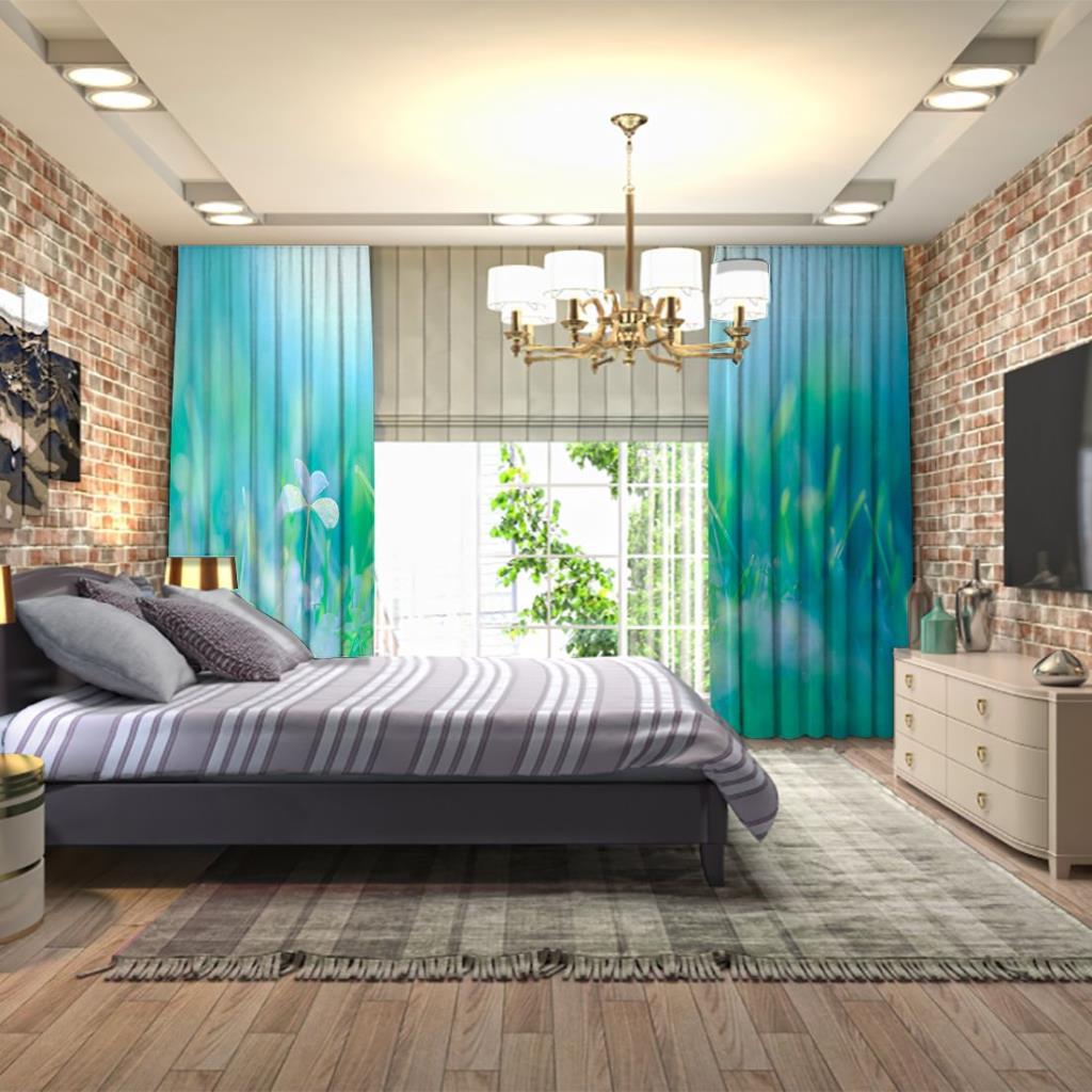 baskılı fon perde güneş ışığı manzaralı yeşil ve mavi ton desenli