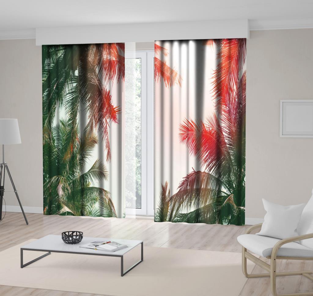 baskılı fon perde güneş yansımalı palmiye ağaçları desenli