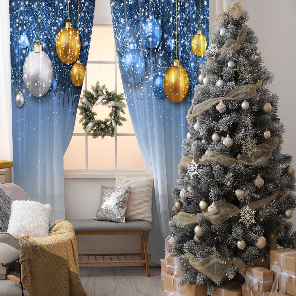 baskılı fon perde hediye noel dekorasyonu ile yılbaşı topları mavi
