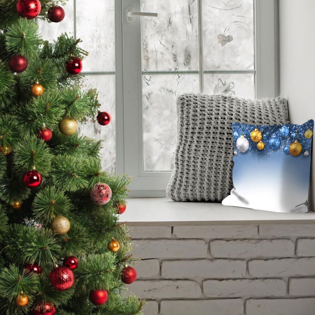baskılı kırlent kılıfı hediye noel dekorasyonlu ile yılbaşı topları mavi