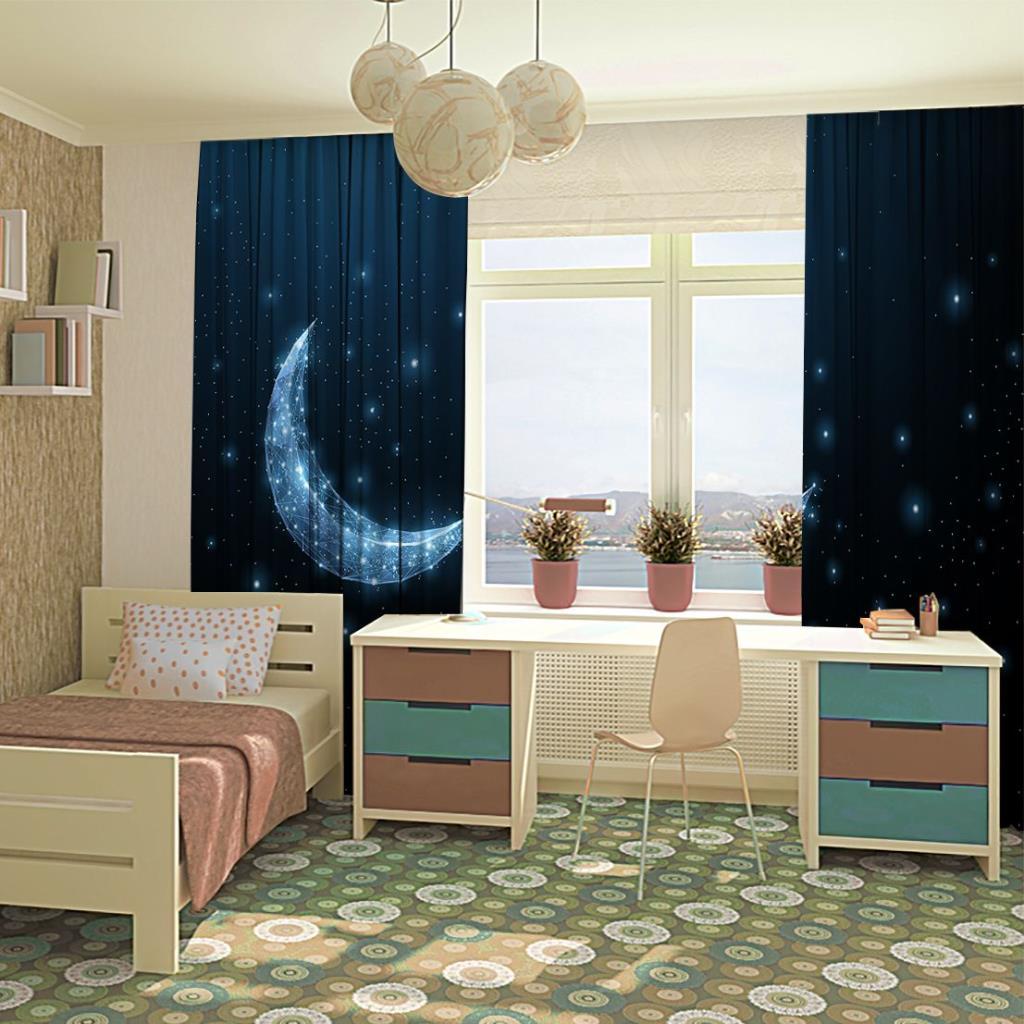 baskılı fon perde hilal ay yıldız desenli mavi