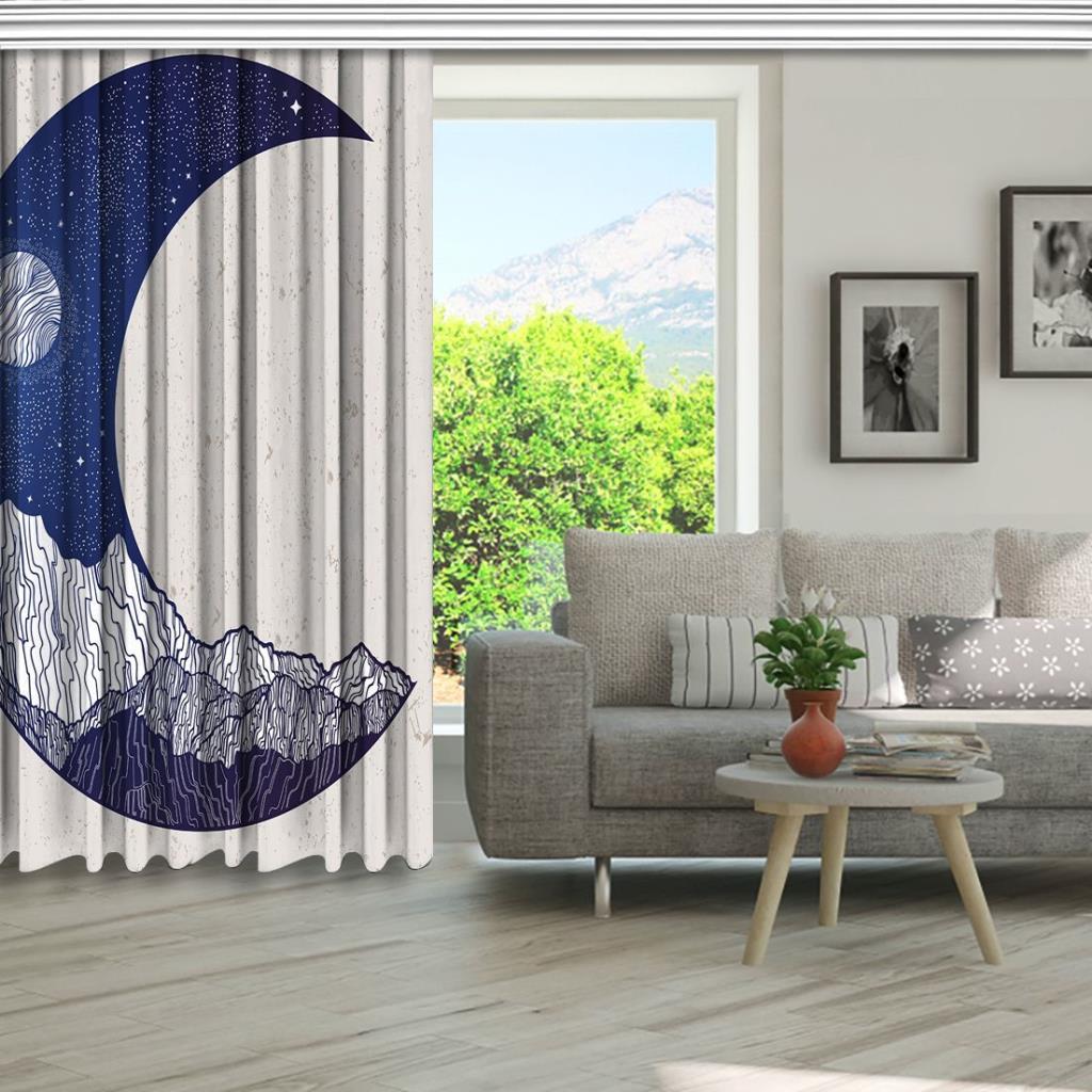 baskılı fon perde hilal şeklinde dağ ay manzara desenli mavi