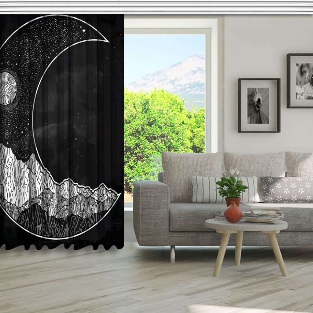 baskılı fon perde hilal şeklinde dağ ay manzara desenli siyah