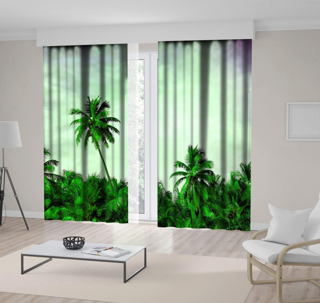 baskılı fon perde hindistan cevizi ağacı gökyüzü desenli yeşil