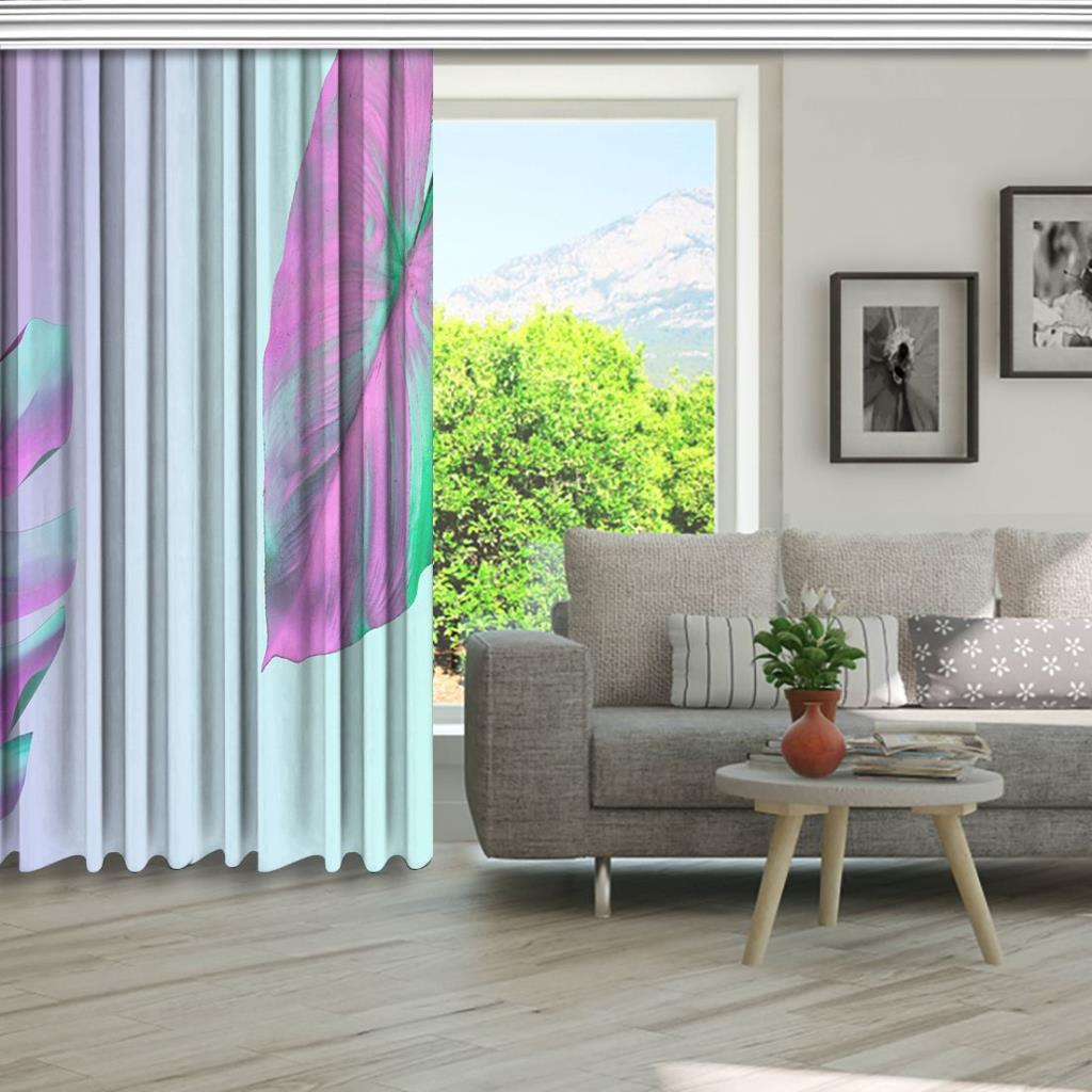 baskılı fon perde holografik neon renkli tropik palmiye yaprak desenli