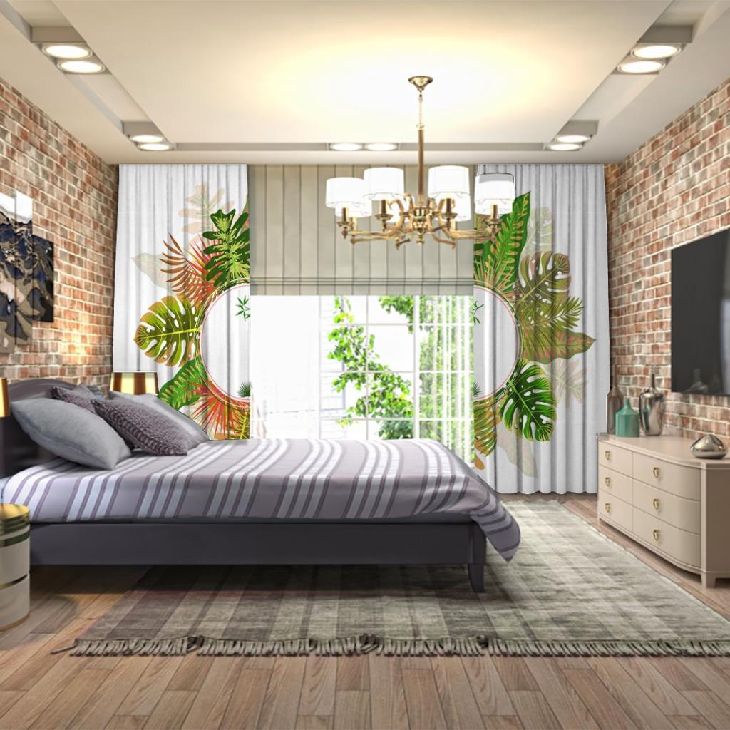 baskılı fon perde hurma yaprak palmiye desenli yeşil