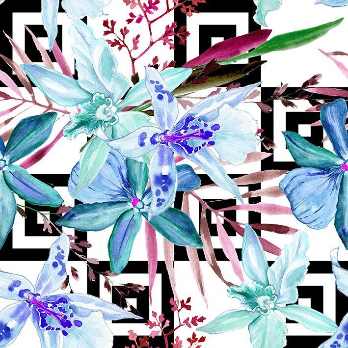 baskılı fon perde içiçe karelerden oluşan palmiye lilyum çiçekli desenli