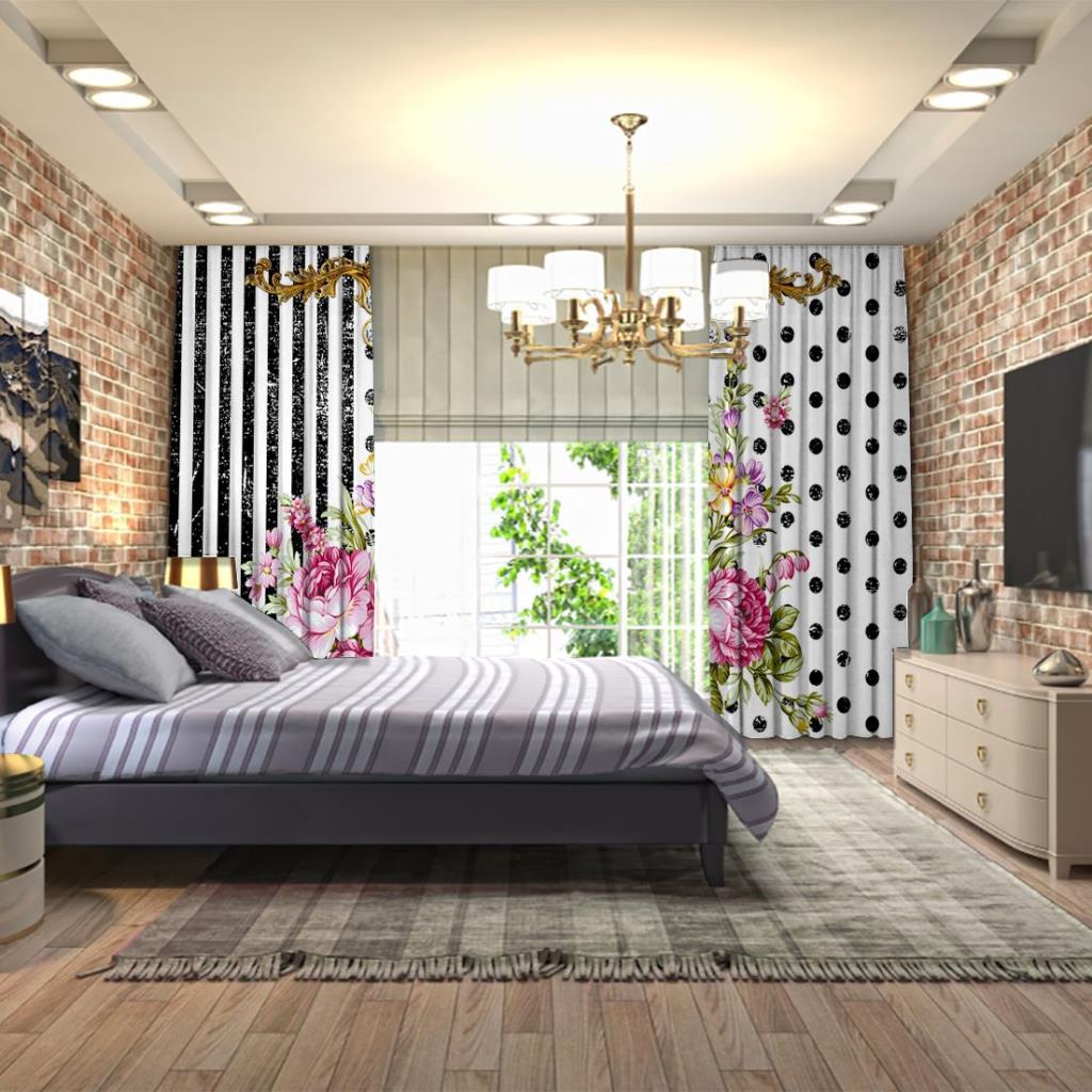 baskılı fon perde ipek tasarımı barok ve çiçek desenli