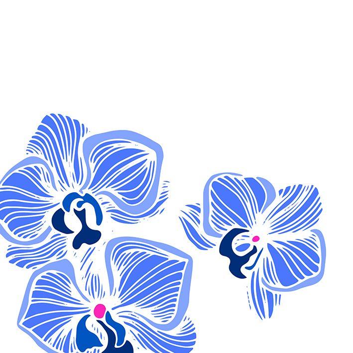 baskılı fon perde iri mavili çizgili çiçekler desenli