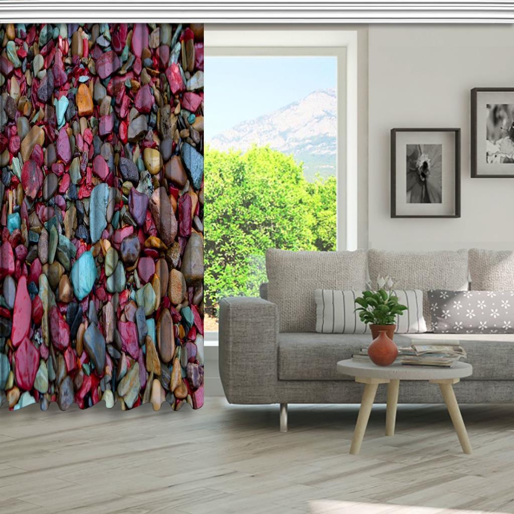 baskılı fon perde irili ufaklı pembe mavi ve gri renkli doğal taş desenli