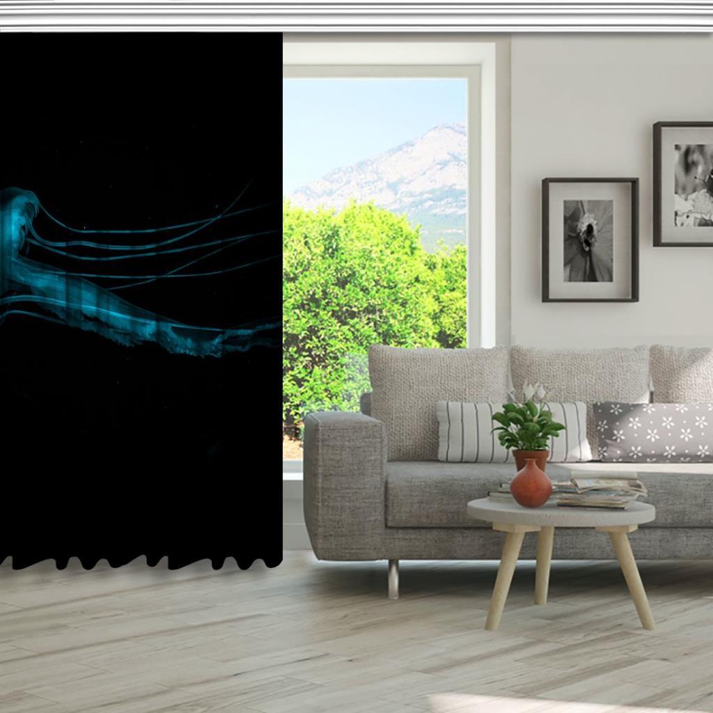 baskılı fon perde ışıldayan deniz anası desenli mavi