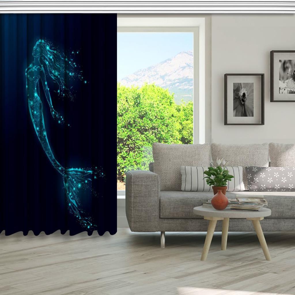 baskılı fon perde ışıldayan deniz kızı desenli mavi