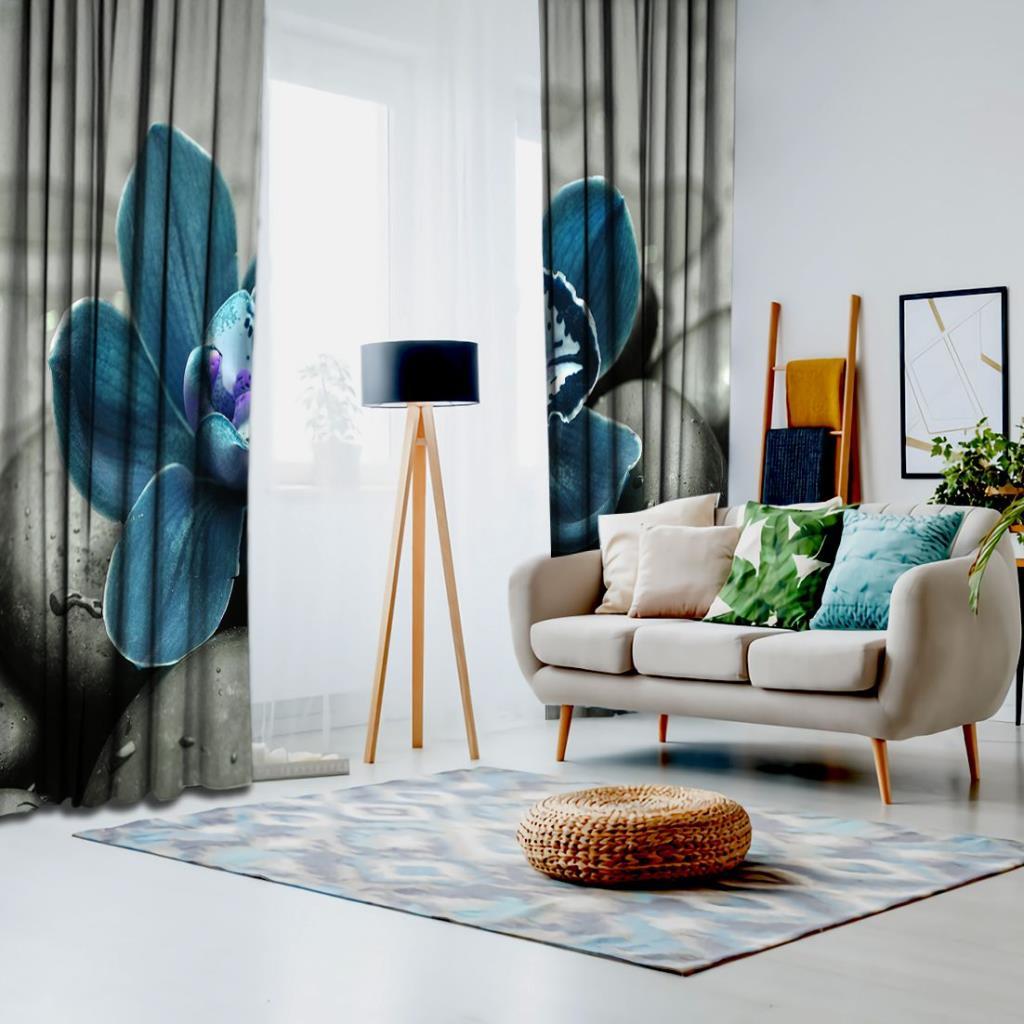 baskılı fon perde ıslak taş üzerine mavi orkide çiçek desenli