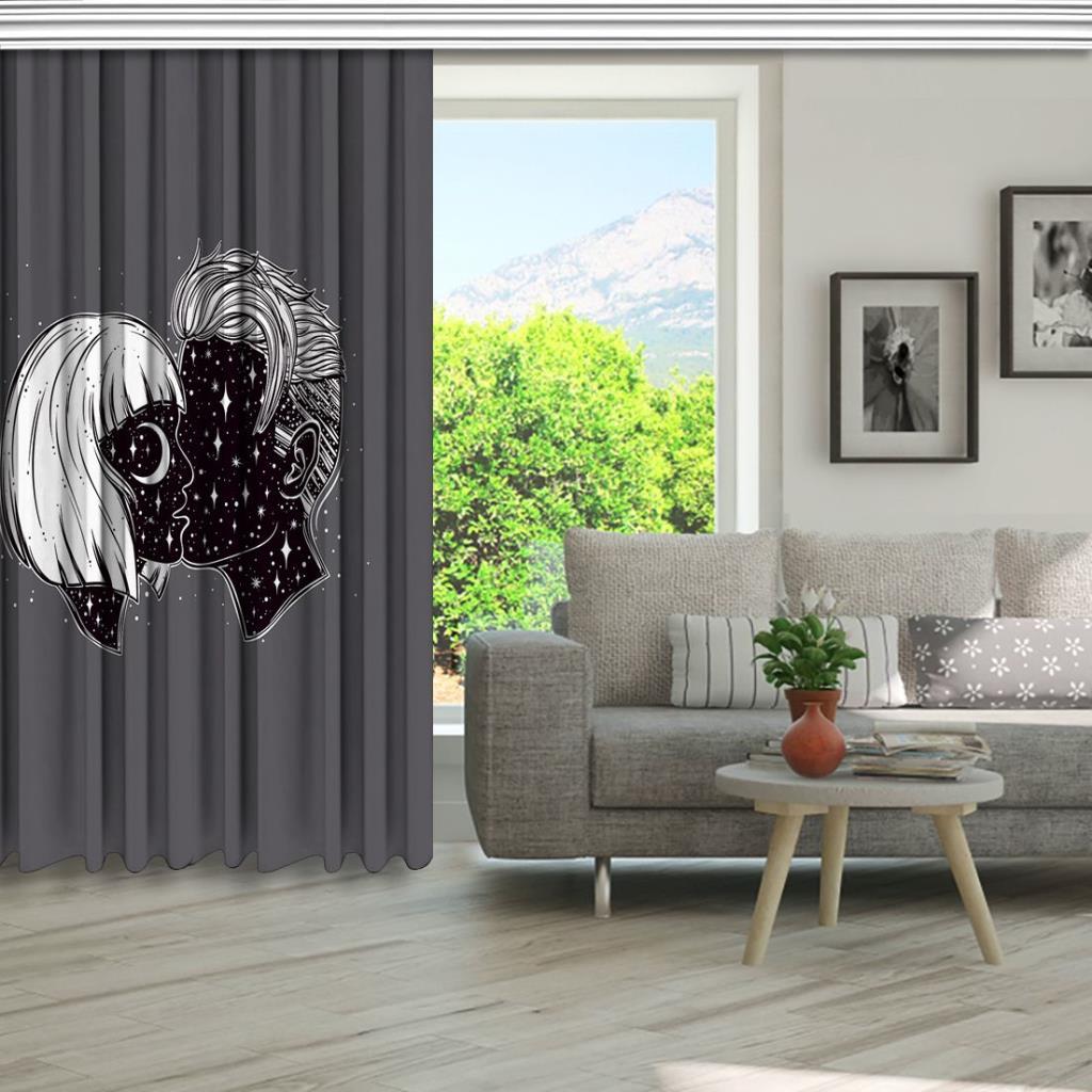baskılı fon perde kadın ve erkek simge etkili gri arka plan desenli
