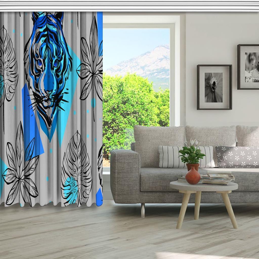 baskılı fon perde kaplan kafası palmiye yaprak desenli mavi