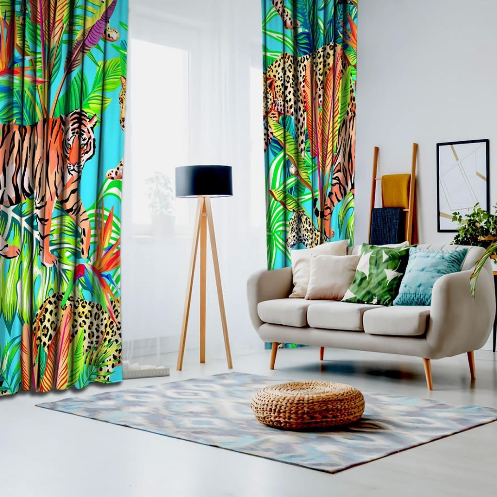 baskılı fon perde kaplan ve jaguar etkili palmiye yaprak desenli