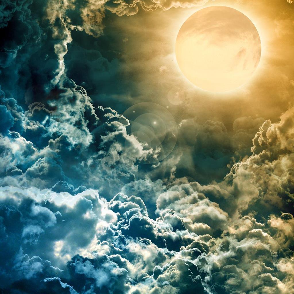 baskılı fon perde karanlık gökyüzü üzeri dolunay desenli