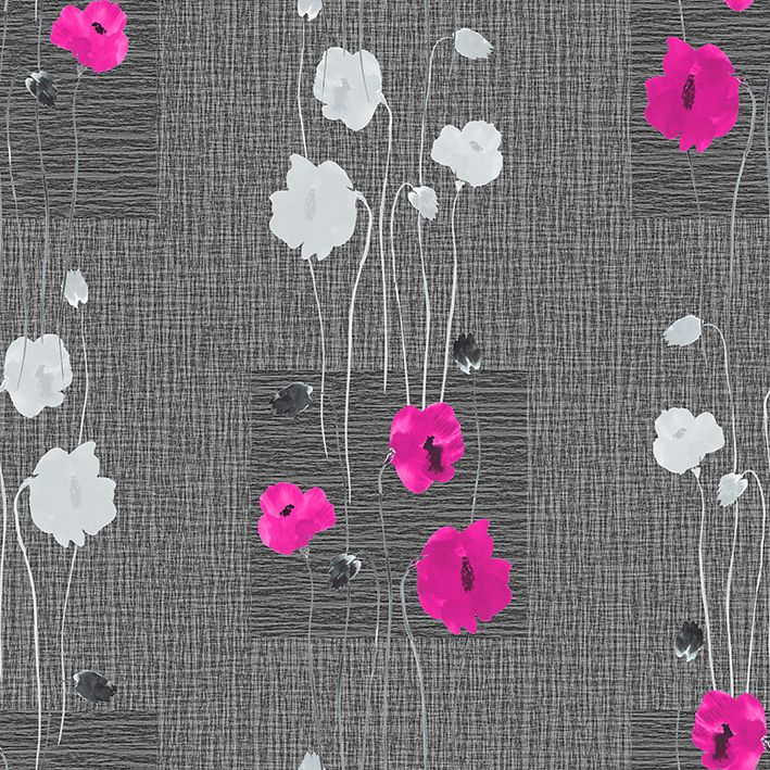 baskılı fon perde kare koyu gri zemin beyaz kırmızı çiçek desenli