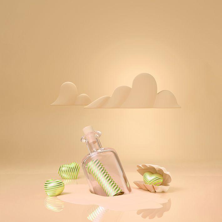 baskılı fon perde kavuniçi renklerle kum içinde şişe deniz kabuğu desenli